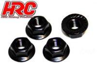 HRC – 4mm Alloy Serrated Wheel Nut – (Black)