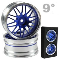 CNC Drift Alu Wheels (Silver and Blue) – 9mm Offset – 4 pcs