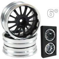 CNC Drift Alu Wheels (Silver and Black) – 6mm Offset – 4 pcs