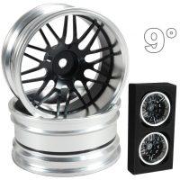 CNC Drift Alu Wheels (Silver and Black) – 9mm Offset – 4 pcs