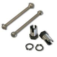 Driveshaft aluminium + wheelaxle (2+2) (500009)