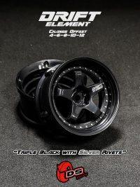 DS-Racing – Drift Element wheels – Triple Black with Silver Rivets (Changable Offset) – 2 pcs