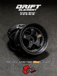 DS-Racing – Drift Element wheels – Triple Black with Gold Rivets (Changable Offset) – 2 pcs
