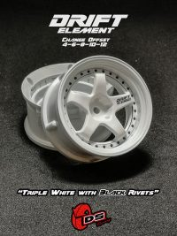 DS-Racing – Drift Element wheels – Triple White with Black Rivets (Changable Offset) – 2 pcs