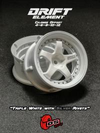 DS-Racing – Drift Element wheels – Triple White with Silver Rivets (Changable Offset) – 2 pcs