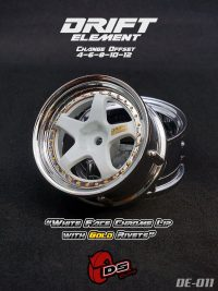 DS-Racing – Drift Element wheels – White/Chrome Lip/Gold Rivets (Changable Offset) – 2 pcs