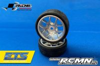 RIDE 1:10 Belted Tires 24mm Pre-glued with 10 Spoke Wheel – Grey (4)